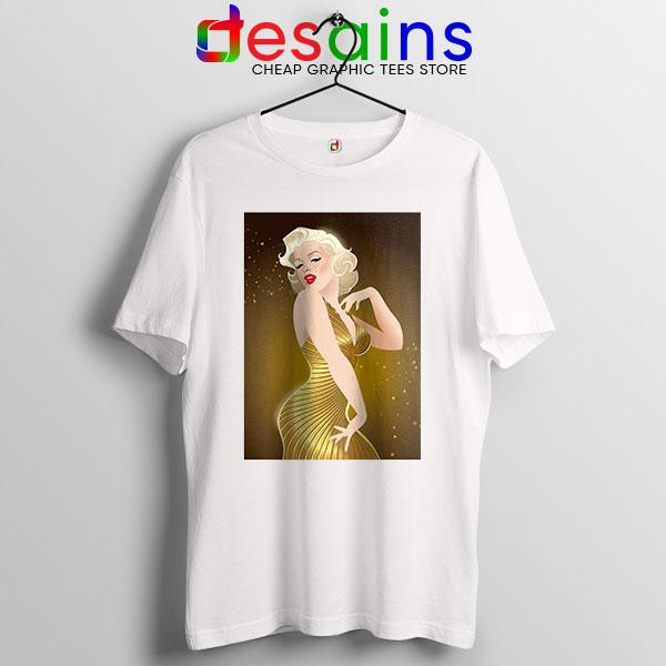 Marilyn Monroe Gold Smile White T Shirt Sexy Actress