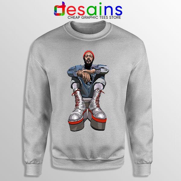 Marvin Gaye Music Boots Sport Grey Sweatshirt Back In 73