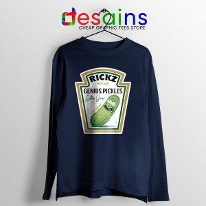 Pickle Rick Heinz logo Navy Long Sleeve Tee Rick and Morty