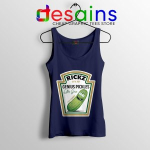 Pickle Rick Heinz logo Navy Tank Top Rick and Morty