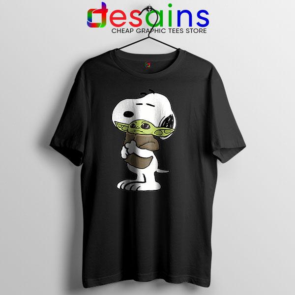 Snoopy Baby Yoda Friends Black T Shirt Mandalorian
