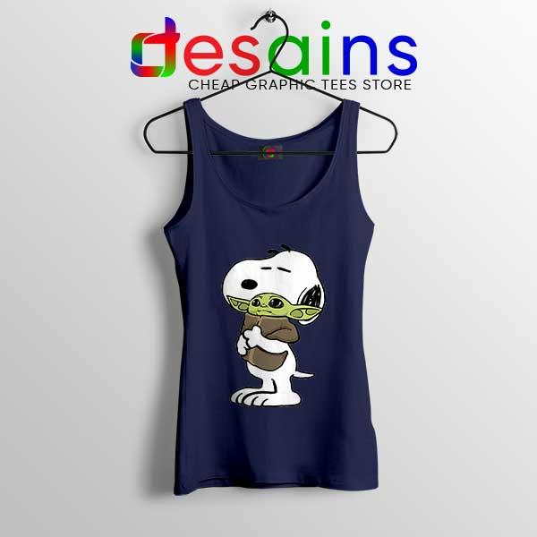 Snoopy Baby Yoda Friends Navy Tank Top Funny Mandalorian
