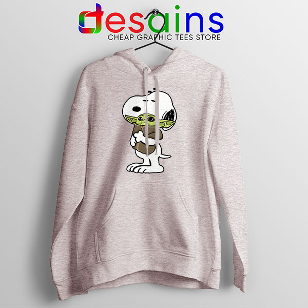 Snoopy Baby Yoda Friends Sport Grey Hoodie Funny Mandalorian