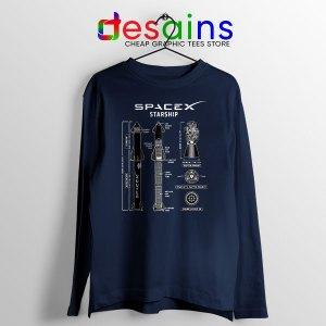 Spacex Starship Prototype Navy Long Sleeve Tee Elon Musk