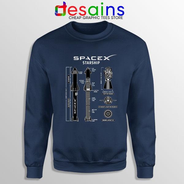 Spacex Starship Prototype Navy Sweatshirt Elon Musk