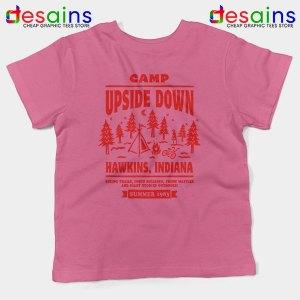 Camp Upside Down Hawkins Pink Kids Tee Stranger Things