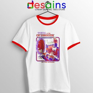 Cat Dimension Retro Red Ringer Tee Funny Meow