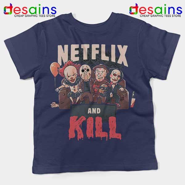 Classic Scary Horror Movie Navy Kids Tee Netflix And Kill
