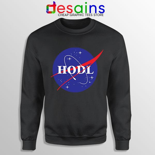 Crypto HODL NASA logo Black Sweatshirt Meme