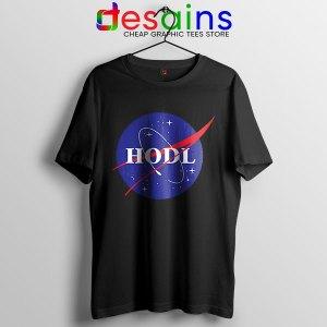 Crypto HODL NASA logo Black T Shirt Meme