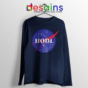 Crypto HODL NASA logo Navy Long Sleeve Tee Meme
