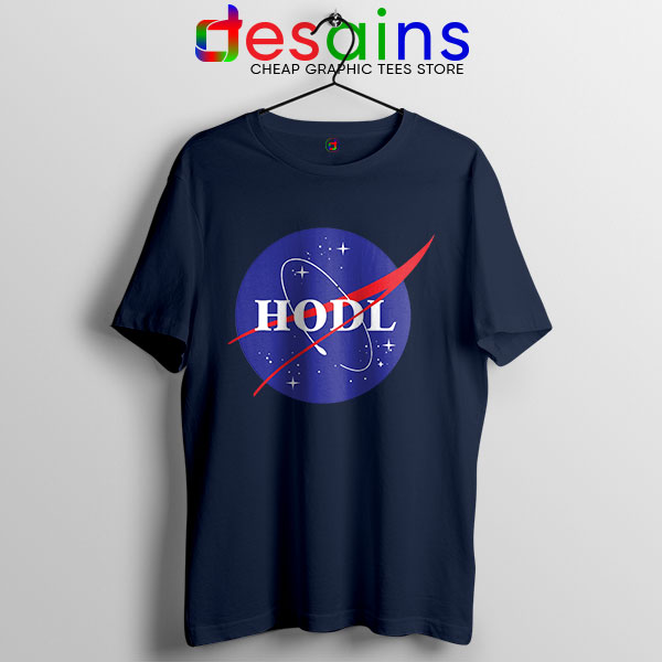 Crypto HODL NASA logo Navy T Shirt Meme