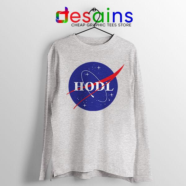 Crypto HODL NASA logo Sport Grey Long Sleeve Tee Meme