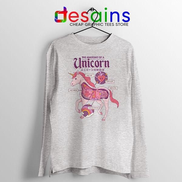 Cute Unicorn Anatomy Sport Grey Long Sleeve Tee Funny