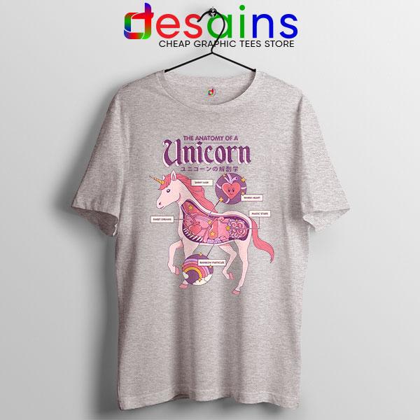Cute Unicorn Anatomy Sport Grey Tshirt Funny Pony