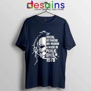 Funny Michael Myers Covid Navy Tshirt Real Face