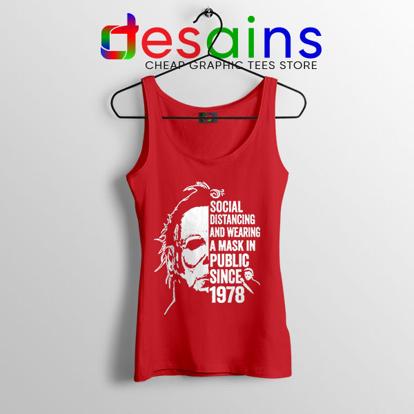 Funny Michael Myers Covid Red Tank Top Real Face