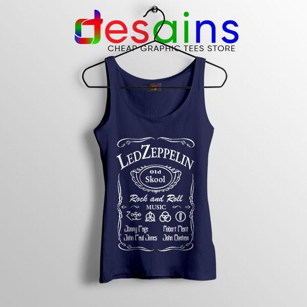 Led Zepelin Whiskey Navy Tank Top Old School Daniels