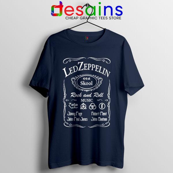 Led Zepelin Whiskey Navy Tshirt Old School Daniels