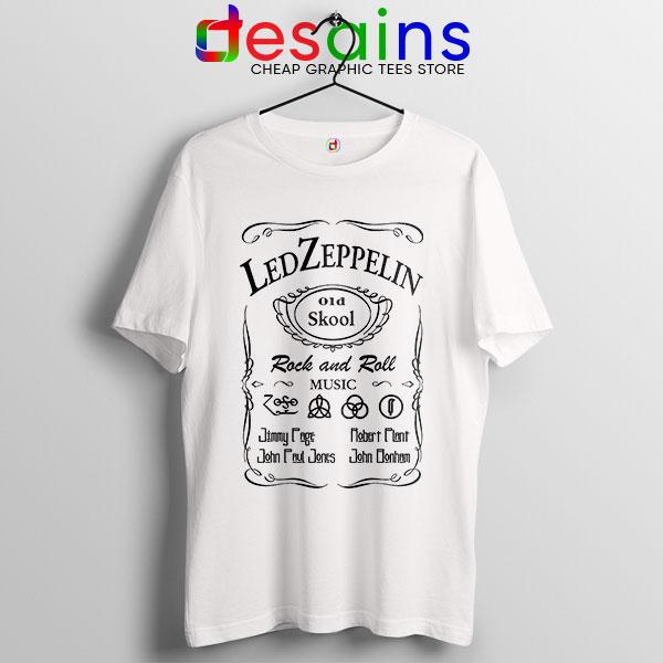 Led Zepelin Whiskey White Tshirt Old School Daniels