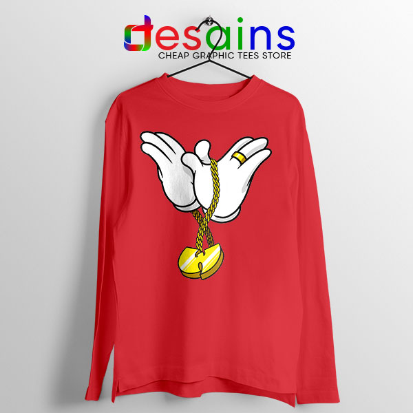 Mickey Gloves Wu Tang Chain Red Long Sleeve Tee Cheap Funny
