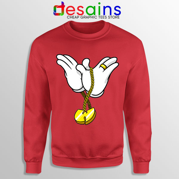 Mickey Gloves Wu Tang Chain Red Sweatshirt Cheap Funny