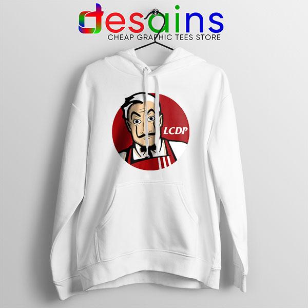 Money Heist The Masks White Hoodie Funny KFC Logo