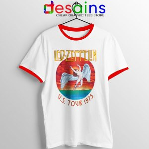 North American Tour 1975 Merch Red Ringer Tee Led Zeppelin