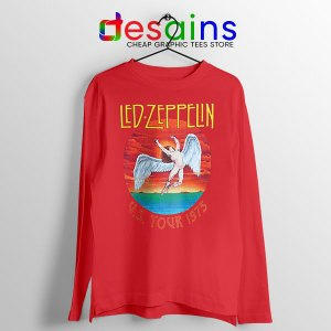 North American Tour 1975 Red Long Sleeve Tee Led Zeppelin
