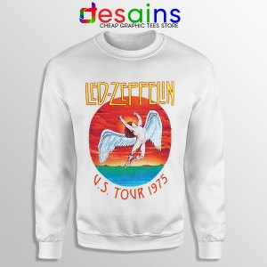 North American Tour 1975 White Sweatshirt Led Zeppelin Merch