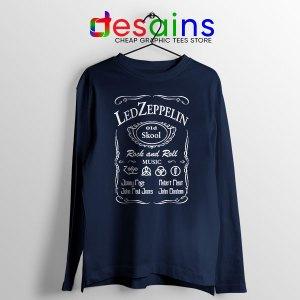 Old No 7 Led Zepelin Navy Long Sleeve Tee Whiskey Schoolv