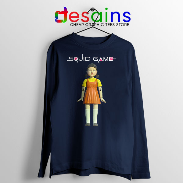 Squid Game Doll Mascot Navy Long Sleeve Tee Netflix Merch