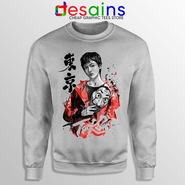 Tokyo Money Heist Sumi e Sport Grey Sweatshirt La Casa De Papel