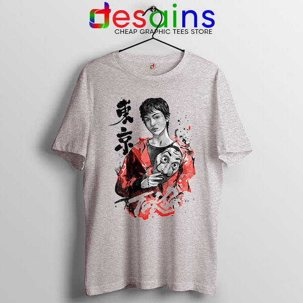 Tokyo Money Heist Sumi e Sport Grey Tshirt La Casa De Papel