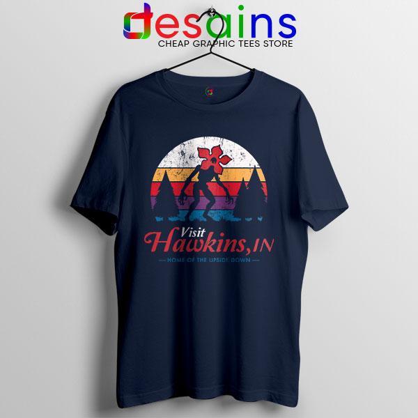 Visit Hawkins Stranger Things Navy Tshirt The Upside Down