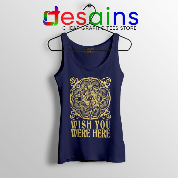 Wish You Were Here Art Navy Tank Top Pink Floyd Band