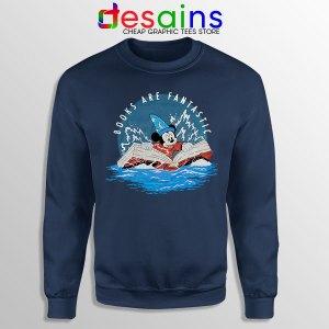 Books Are Fantastic Mickey Navy Sweatshirt Hobbies Reading