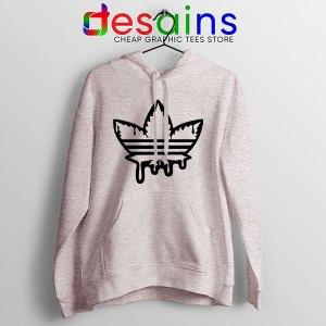 Funny Cannabis Three Stripes Sport Grey Hoodie Adidas Parody