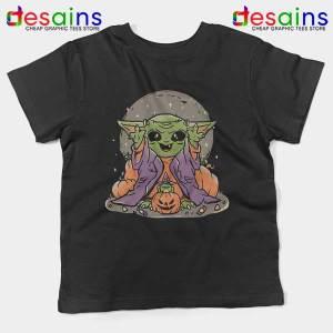 Funny Pumpkin Baby Yoda Halloween Kids Tee