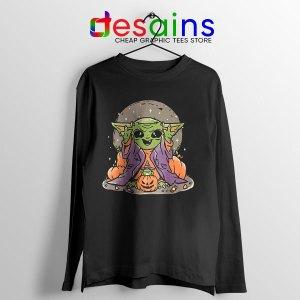 Funny Pumpkin Baby Yoda Halloween Long Sleeve Tee