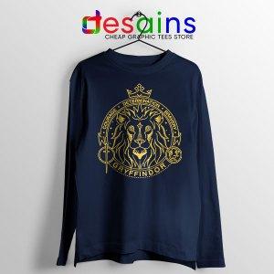 Houses of Hogwarts Navy Lion Long Sleeve Tee Gryffindor