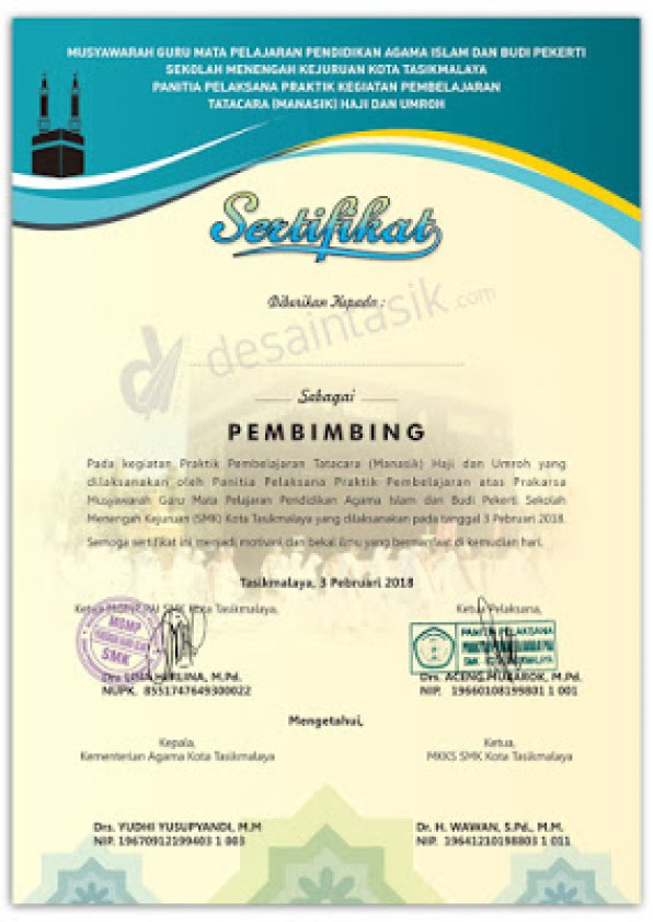desain sertifikat Manasik Haji Potrait