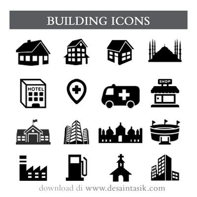 Gambar Icon Bangunan PNG Untuk Desain Peta Lokasi
