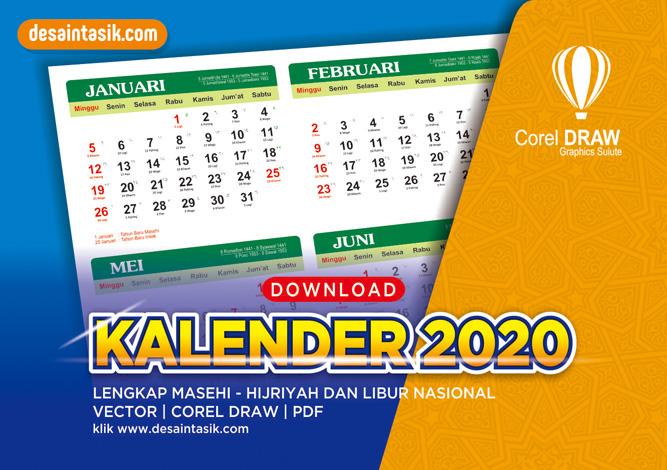 Kalender 2020 Masehi dan Hijriyah Lengkap Download