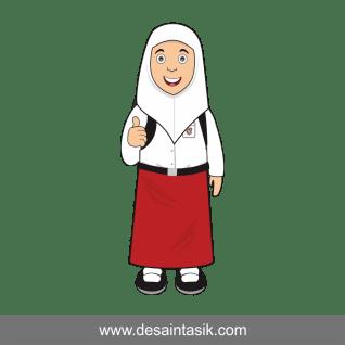 Kartun anak SD perempuan vector PNG