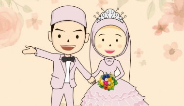 desaintasik-animasi wedding vector cartoon kartun pernikahan 1