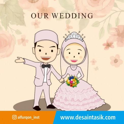 desaintasik-animasi wedding vector cartoon kartun pernikahan 1