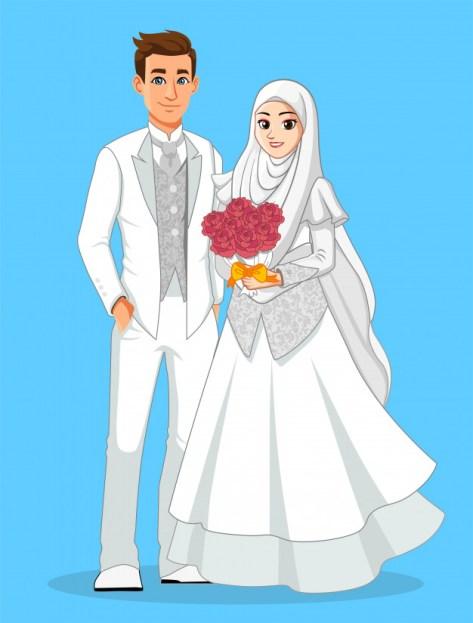 desaintasik-wedding moslem vector-kartun pernikahan