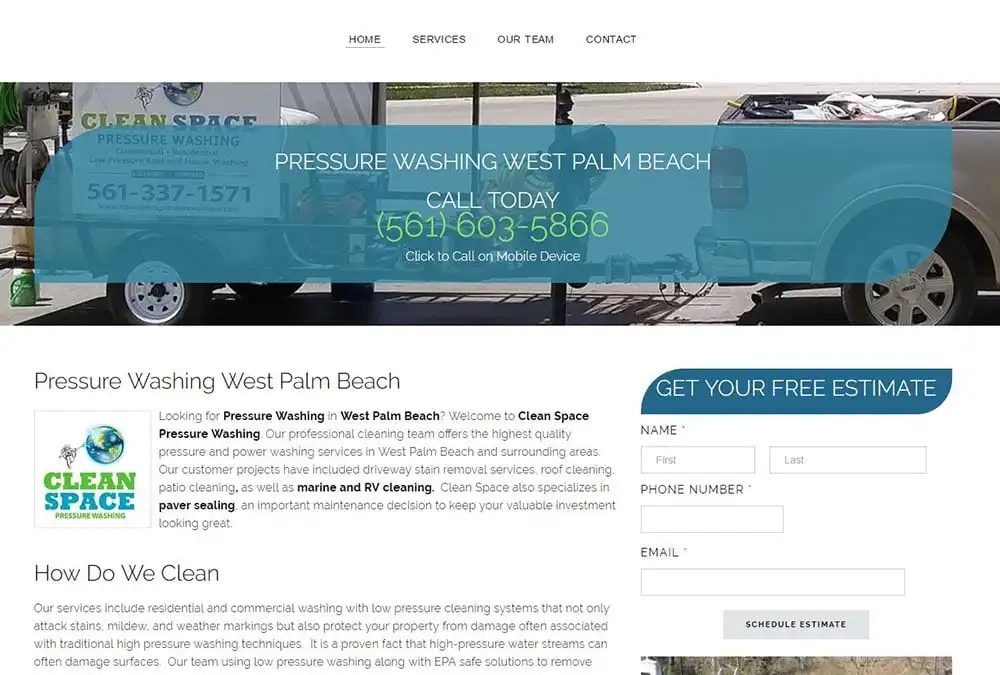 lead generation website, Palm Beach, Clean Space, Pressure Washing