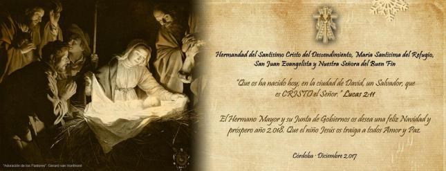 Feliz Navidad y Príspero 2018. Hermandad del Descendimiento. Córdoba.